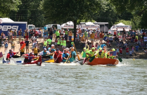 Freedom Festival dragon boats in Cedar Rapids